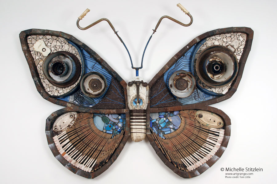moth found object sculpture